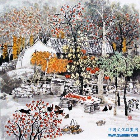 李建设国画《秋实》
