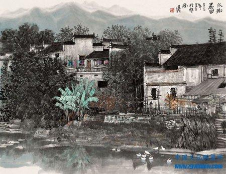 李建设国画《水乡晨曲》